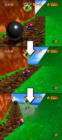 Instead of staying behind Mario, the camera rotates to show the path Super-mario-64-camera-system-ai.jpg