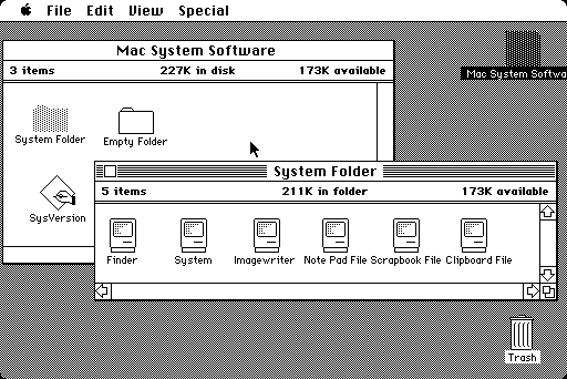 Macintosh System 1.0 Desktop