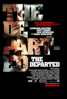 "The text ""THE DEPARTED"" against a black background; the text is filled in with photos of Leonardo DiCaprio (top), Jack Nicholson (right), and Matt Damon (left)"