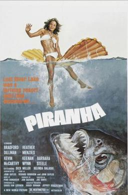 "Piranha (1978), directed by Joe Dante and written by John Sayles for Corman's New World Pictures, is an action-filled creature feature, an environmentalist cautionary tale, and a humorous parody of Jaws. It was one of many exploitation films to mimic the design of Jaws' famous poster, ""with its promise of titillating thrills"".[119]"