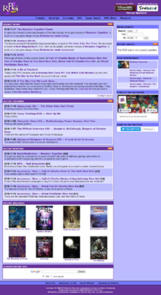 A screenshot of RPGnet home page on November 18, 2018