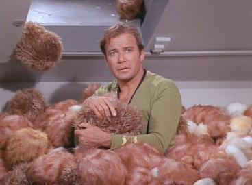 Captain Kirk, up to his chest in tribbles