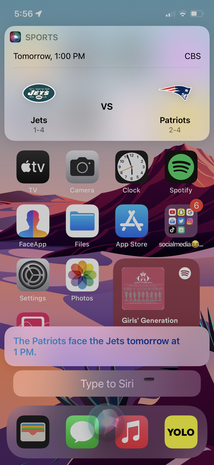Siri dictates the next game for the Seattle Seahawks, upon the user's request, on an iPhone SE running iOS 11