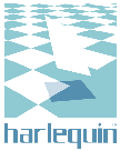 The Harlequin lifting tile logo