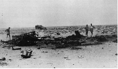 The wreckage of Marseille's aircraft on 30 September 1942; the vehicle in the background marks the spot where Marseille landed.