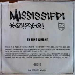 Mississippi Goddam 1964 song written and performed by Nina Simone
