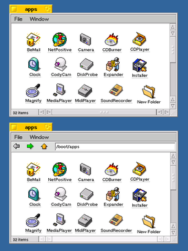 Of these two OpenTracker windows containing computer icons for BeOS software applications, the bottom window features a single-window navigation mode introduced in OpenTracker.