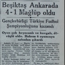 Turkish newspaper Yeni Sabah announcing the Turkish championship title of Gençlerbirliği on 16 July 1941
