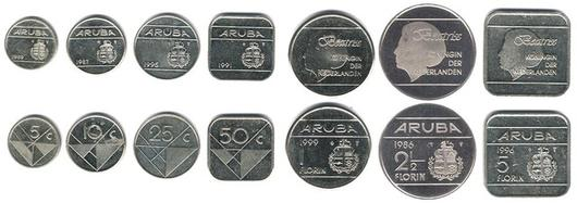 The Aruban Florin Coins From Left To Right 5 10 25 50 Cents And 1 2½ Before 2005