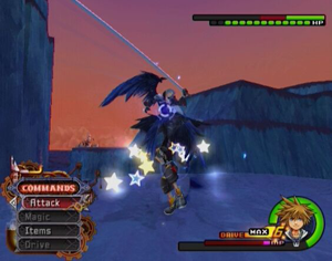Sora battles Sephiroth in Radiant Garden. The player uses the game menu at the bottom left of the screen to control Sora's actions and can monitor Sora's HP and MP gauges on the bottom right. KH2 gameplay.png