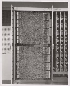 "Mark 1 Perceptron: This machine was designed for image recognition: it had an array of 400 photocells, randomly connected to the ""neurons"". Weights were encoded in potentiometers, and weight updates during learning were performed by electric motors."