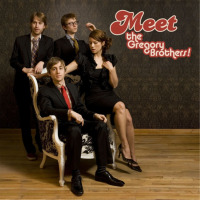 "Cover art of ""Meet the Gregory Brothers!"" From left to right: Andrew Rose Gregory, Evan Gregory, Michael Gregory, Sarah Fullen Gregory."