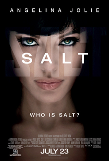 "A woman's face in a shadowy environment. The word 'SALT' is in the center, below it the question ""Who is Salt?"""