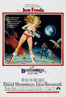 Multicolored, comic-like film poster of Barbarella and other characters