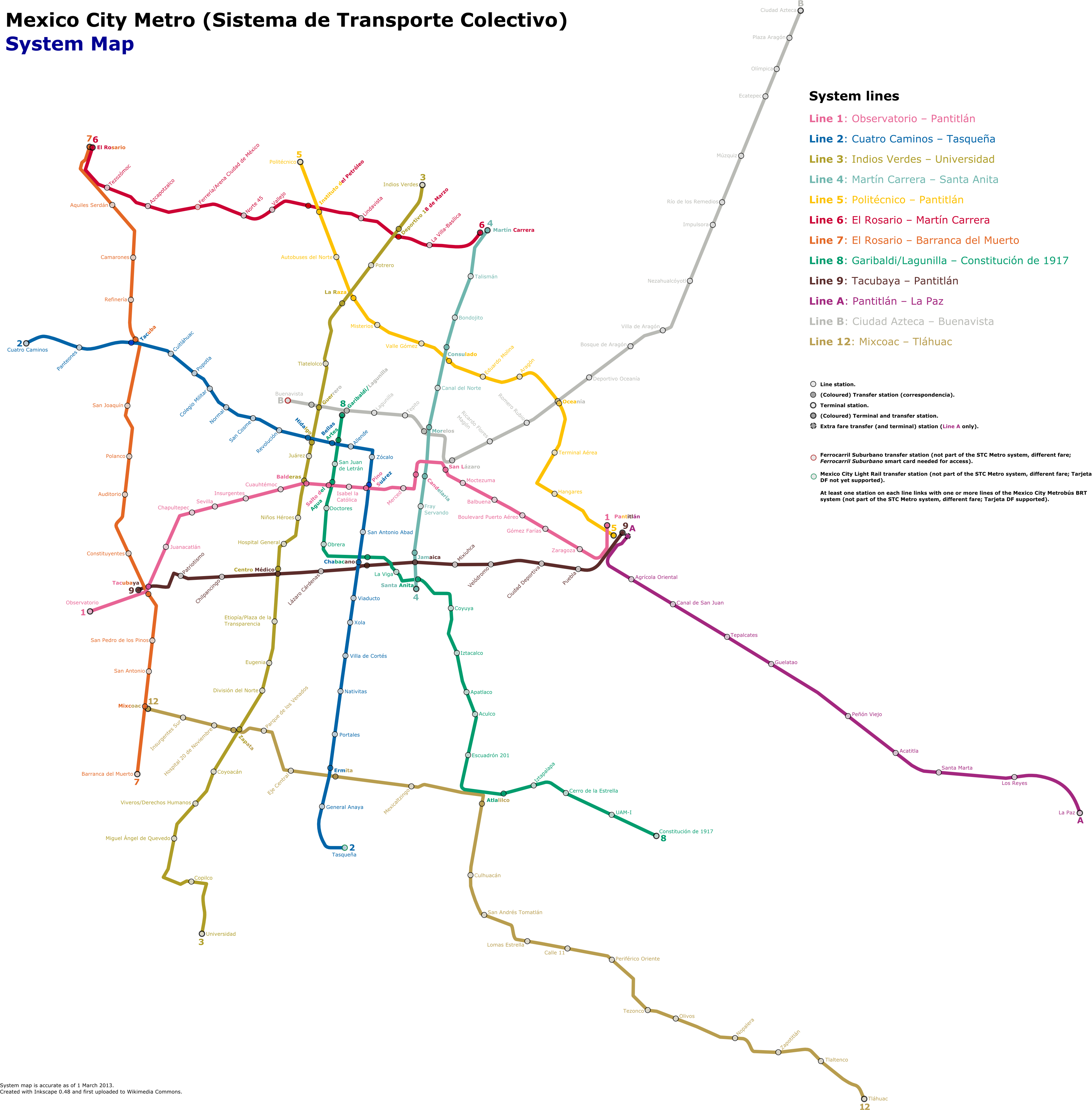 File Mexico City Metro System Map 2013 03 01 02 Png Wikipedia