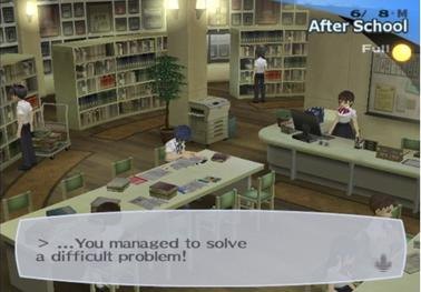 The Protagonist gains academic skills by studying in the school library. The upper-right area of the screen indicates the current date, time period, and phase of the moon. Persona3library.jpeg
