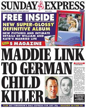 Front page of the Sunday Express, 7 May 2011