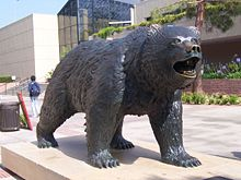 The Bruin statue, designed by Billy Fitzgerald, in Bruin Plaza.[40]