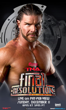 "Tanned adult male with long black hair standing above a red and orange logo that reads ""Final Resolution"""