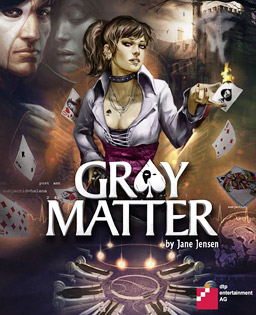 "Artwork of a vertical rectangular box. In the center it reads ""Gray Matter"" with the main characters Samantha Everett above the logo and David Styles in the upper left"