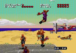 Gameplay screenshot showcasing a match in Miami (Genesis version). MD Barkley Shut Up and Jam!.png