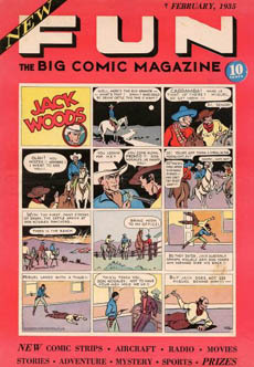 Cover art of the first comic book by National Comics Publications that is cover dated February 1935. Characters such as the Western character Jack Wood that is featured were original characters not from comic strips unlike comic book magazine series before.[12]