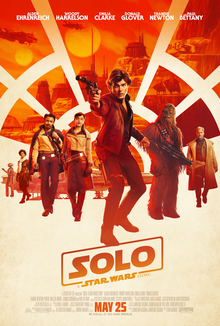 A group of people standing in a row, in the middle stands Han Solo pointing his blaster. The background is divided into blocks resembling a cockpit window.