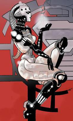 Natasha as Steel. Art by Pascual Ferry.