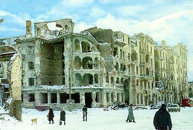 A street in Grozny after the First Chechen War
