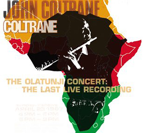 A green, yellow, and red outline of continental Africa on a white background includes a black-and-white inset of Coltrane playing flute.