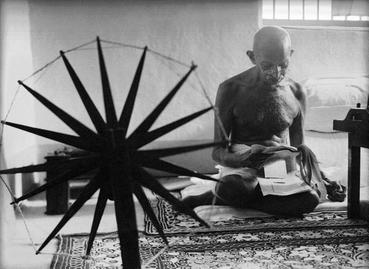 An iconic photograph that Margaret Bourke-White took of Mohandas K. Gandhi in 1946