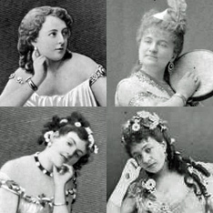 Offenbach leading ladies: clockwise from top left: Marie Garnier in Orphée aux enfers, Zulma Bouffar in Les brigands, Léa Silly (role unidentified), Rose Deschamps in Orphée aux enfers