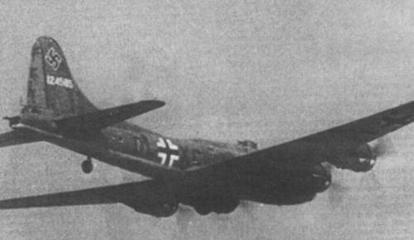 "Captured B-17F-27-BO in Luftwaffe markings, the USAAF-named ""Wulfe-Hound"", 41-24585, of the 360th BS/303rd BG, downed on 12 December 1942 near Leeuwarden, Netherlands, while on a raid on Rouen, France, the first Flying Fortress to fall intact into German hands. Operated by Kampfgeschwader 200 from March 1944. B17 kg200.jpg"