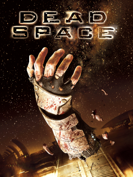 "The cover depicts the words ""Dead Space"" in black type, and a severed forearm floating in zero gravity."