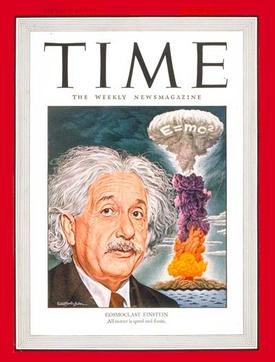 The popular connection between Einstein, the equation E = mc2, and the atomic bomb was prominently indicated on the cover of Time magazine in July 1946.