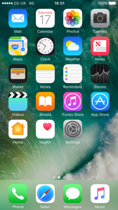 The default iOS 10 home screen on an iPhone 7.