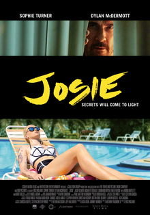 "A woman lit by red and blue light and wearing sunglasses, with a man reflected in her glasses. The film's title, ""Josie"", appears in a smeared yellow font. The tagline ""Secrets will come to light"" is below the title."