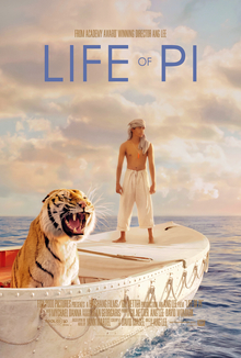 life of pi film  life of pi a young man and a tiger in a boat at sea