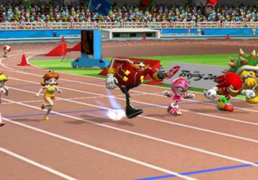 Mario & Sonic at the Olympic Games (2007), a Wii game played by miming sports activity. Mario & Sonic.jpg