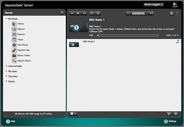 Screenshot of Logitech Media Server