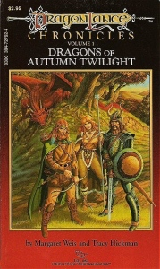 "The original November 1984 first printing paperback cover of ""Dragons of Autumn Twilight"""