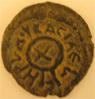 Moneda de la segunda gran emisión de Herodes, con una letra Chi rodeada de una diadema