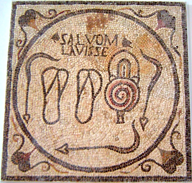 Mosaic Bath Sign From Sabratha Libya Showing on bill russell