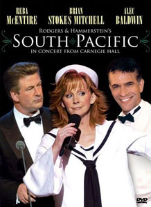 A DVD cover showing a woman with long reddish hair is flanked by two men wearing formal dress