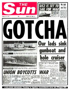 "The Sun's infamous ""Gotcha"" headline The Sun (Gotcha).png"