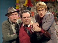 The original Only Fools and Horses line-up of (l-r) Grandad (Lennard Pearce), Del Boy (David Jason) and Rodney (Nicholas Lyndhurst) lasted from 1981–1984.