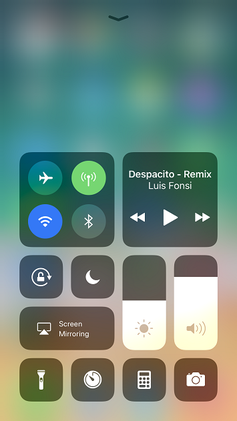 Control Center on an iPhone 7 Plus running iOS 11