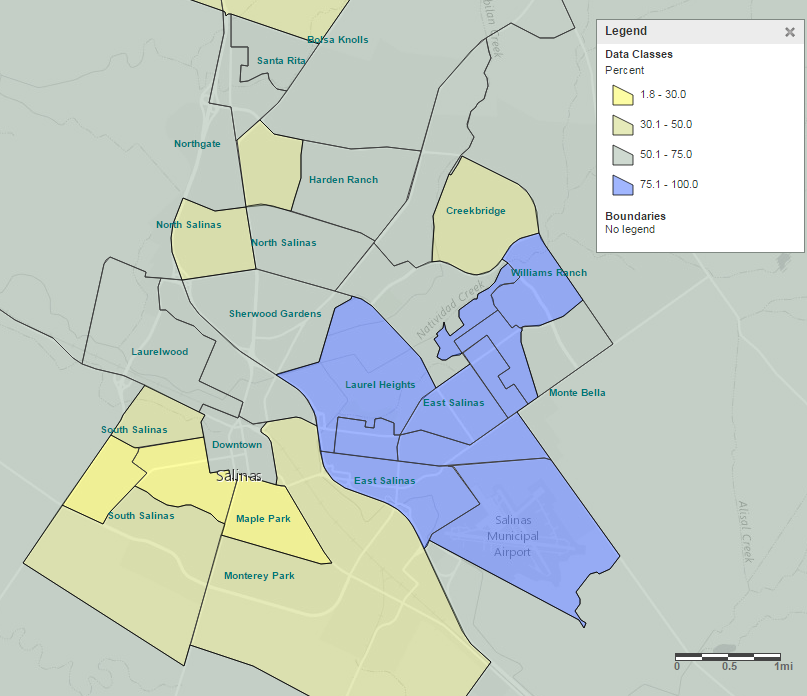 Salinas California Map File:Thematic map showing percentage of households where Spanish  Salinas California Map