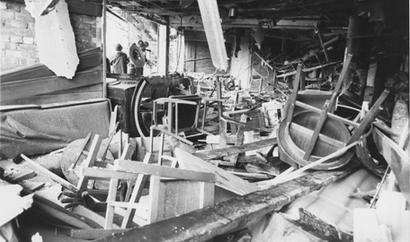 Aftermath of the bomb attack on the Mulberry Bush Pub during the pub bombings of 1974 Mulberry bush pub bomb.jpg