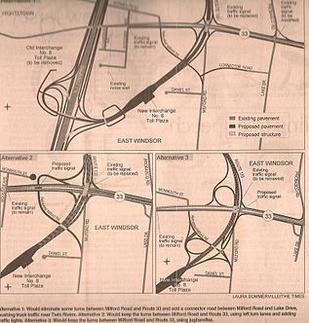 Three proposals for new exit 8 in East Windsor. Alternative 1 was chosen (with a few changes) NJTP (I 95) IC 8 options.jpg